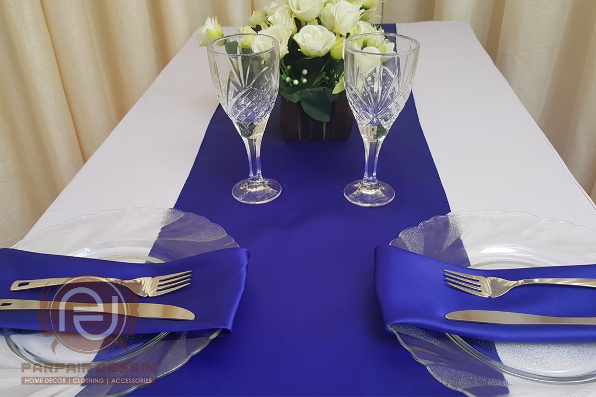Parfair Dessin Pack of 10 Satin Table Runners 12 x 108 inch for Wedding Banquet Decoration, Bright Silk and Smooth Fabric Party Table Runner - Royal Blue by Parfair Dessin (Image #6)