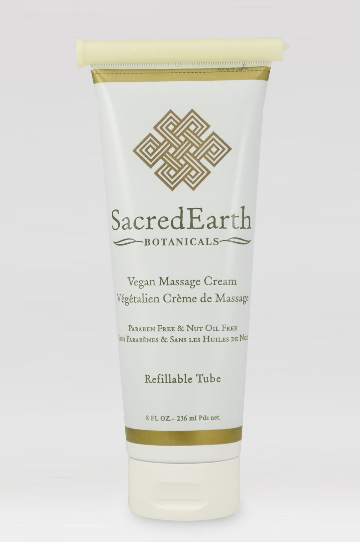 Vegan Massage Cream (8oz Tube) - Unscented, Water Dispersible, Nut Oil Free, Gluten Free and Contains Only Certified Organic Oils and Extracts.