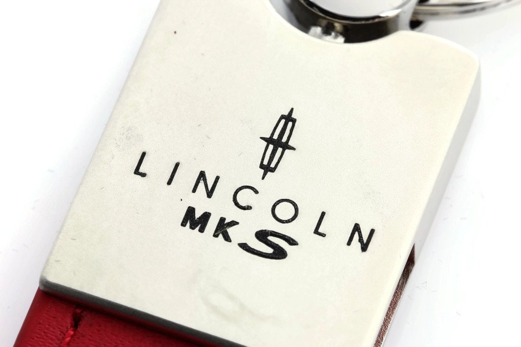 Au-Tomotive Gold Lincoln MKS Red Leather Car Fob Key Chain Ring INC