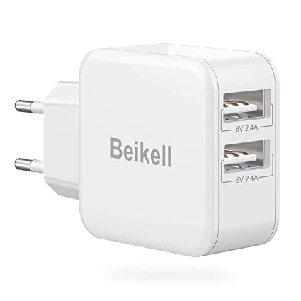 Beikell Cargador USB Pared con 2 Puertos, Cargador Móvil USB ...