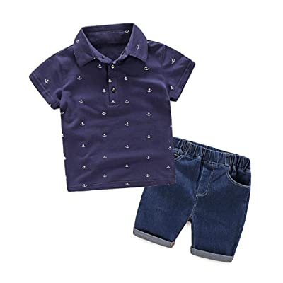 ChainSee Cute 1Set Baby Boys Outfit Clothes Printing Short Sleeve Cotton Blended T-Shirt Tops+Cowboy Shorts Pants (100, Navy)