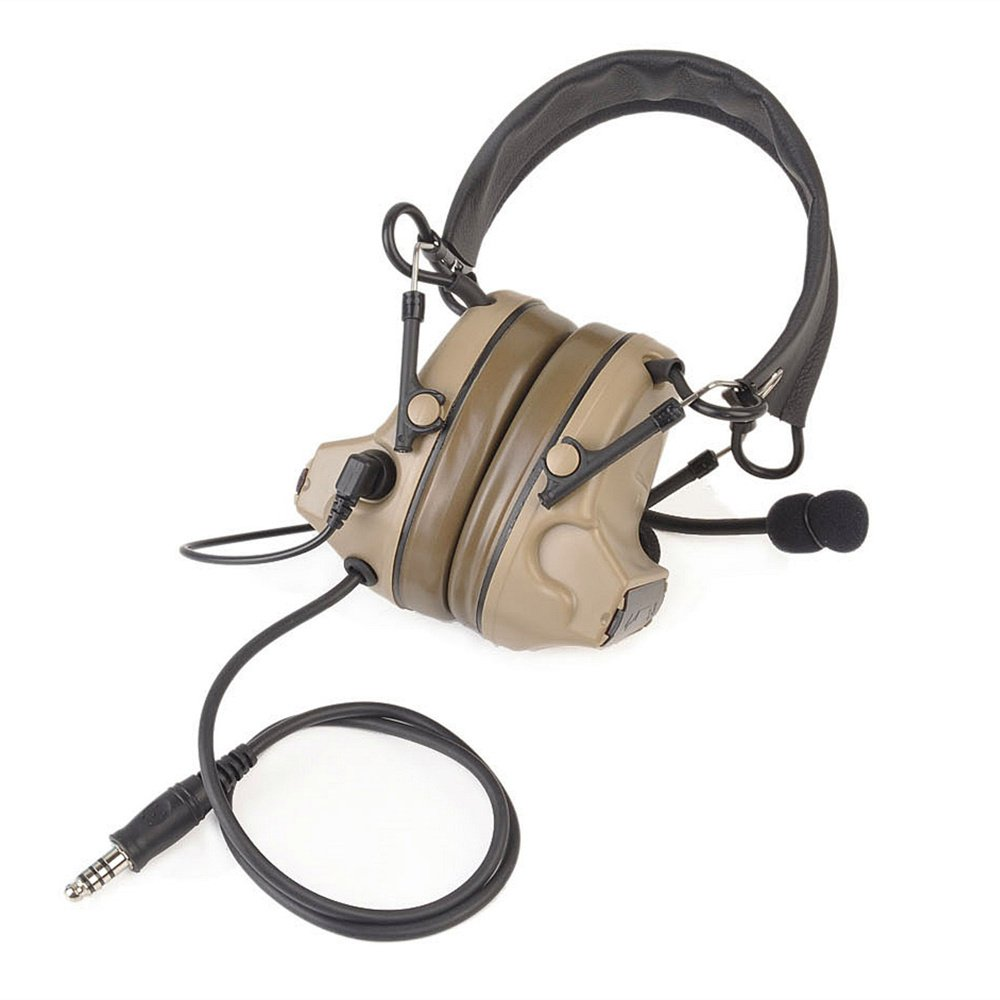 IRON JIA'S Hunting Headset Shooting Tactical Earmuffs Aviation Headphone Noise Canceling Hearing Protection NATO Plug (Desert) by IRON JIA'S