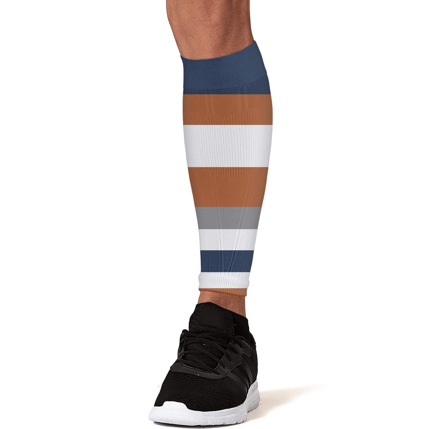 Smilelolly navy blue orange striped Calf Compression Sleeves Helps Calf Guard Leg Sleeves for Men Women