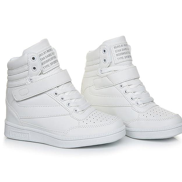KuBua Sneakers Zeppa Interna Alte Donna Scarpe da Ginnastica Polacchine Stivaletti Strappo Stealth Tacco 7 CM Bianco Rosa Nero
