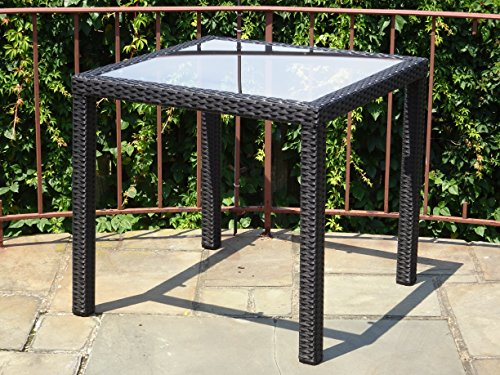 Patio Resin Outdoor Wicker Square 31.5 Inches Dining Table w/ Glass Top. Black by Rattan Wicker Furniture