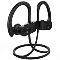 Mpow Flame Bluetooth Headphones Wireless Sport Headphones IPX7 Sweatproof HiFi Stereo Earbuds w/ Curve Ear Hook, CVC Noise Cancellation, 1.5-Hr Fast Charge, Perfect for Gym and Running Workout- Black