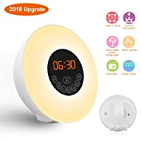 Wake Up Light GLIME Sunrise Alarm Clock 6 Natural Sounds 7 Colors 10 Brightness Sunrise Sunset Simulation Bedside Lamp FM Radio Touch Control for Bedroom Kids