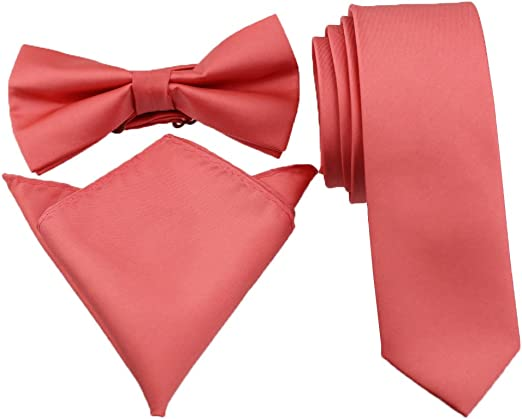 New Boy Long Necktie Solid Zipper Coral Pink