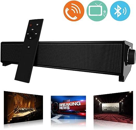 Barra de Sonido, MeihuaTu Altavoz de Audio Bluetooth Inalámbrico para TV PC 20W, USB Soundbar Soporte RCA/AUX/Bluetooth, con Control Remoto-Negro: Amazon.es: Electrónica