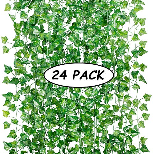 (24 Pack (Each 82inch) (Total 160 Feet) Artificial Ivy Greenery Fake Hanging Vine Plants Leaf Garland Hanging for Wedding Party Garden Outdoor Greenery Office Kitchen Home Wall Decoration)
