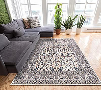 """Ipek Panel Multi Vintage Damask Persian Floral Oriental Trellis Doormat Rug 2x3 ( 20"""" x 31"""" Mat ) Neutral Modern Shabby Chic Accent Small Entry"""