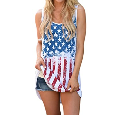 Tank Top, Challyhope Women American Flag Twist Back Casual Blouse Sleeveless T-Shirt