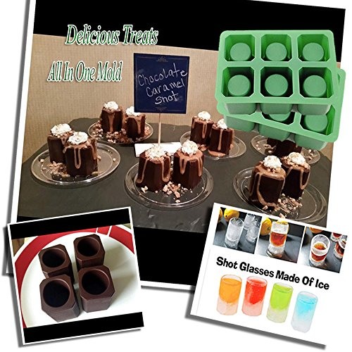 Double 2 Sets of 6 Cups Round Square Shape Ice Shot Glass Maker, Chocolate Mold, Jelly Ice Cube Tray. FDA Food Grade Silicone, Stylish Ice Mug Craft Tool in Sets Color: Green by DidaDi®