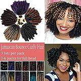 Curly Jamaican Bounce Jumpy Wand Crochet Hair Braid Spring Curl Braiding Hairpiece Synthetic Twist Hair Black to Light Blue