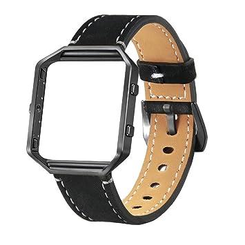 DIPOLA Correa de Repuesto para la muñeca del Reloj de Cuero de Lujo + Marco de Metal para el Reloj Inteligente Fitbit Blaze: Amazon.es: Deportes y aire ...