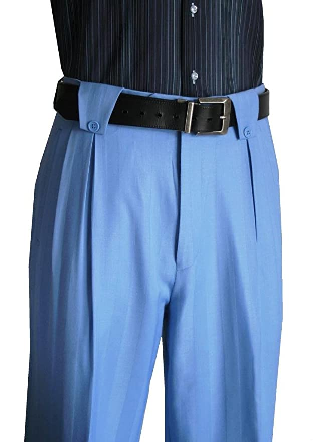 1940s Style Men's Pants and Trousers 100 % Wool Wide Leg Mens Pants Lined to the knee Powder Blue $99.00 AT vintagedancer.com