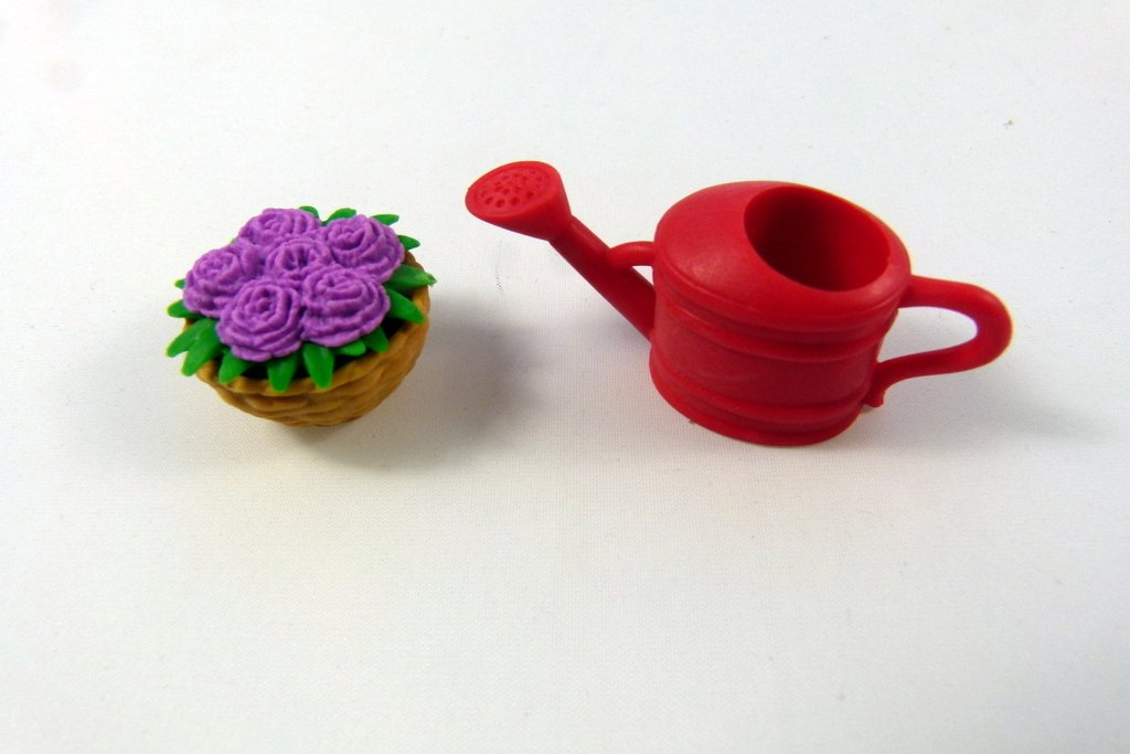 Iwako Purple Flower basket and red watering can Japanese Erasers from Japan by Iwako (Image #1)