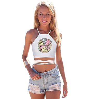 84fc94293f06a Débardeur Court Femme Imprimé Debardeur Crop Top Dos Nu Licou Haut Tee  Shirt Court T Shirt