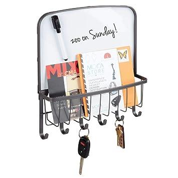 mDesign Organizador de llaves y cartas para la pared – Colgador de llaves con bandeja para el correo y folletos – Organizador de cartas con bandeja, 6 ...