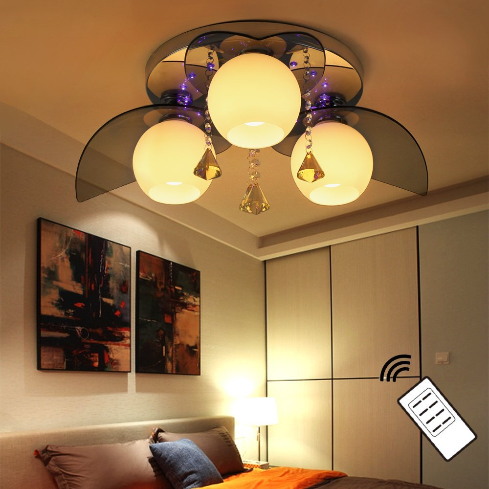 NatsenR LED Kristall Deckenleuchte E27 3 Flammig Deckenlampe Warmweiss Mit Fernbedienung Wohnzimmer Lampe Amazonde Beleuchtung