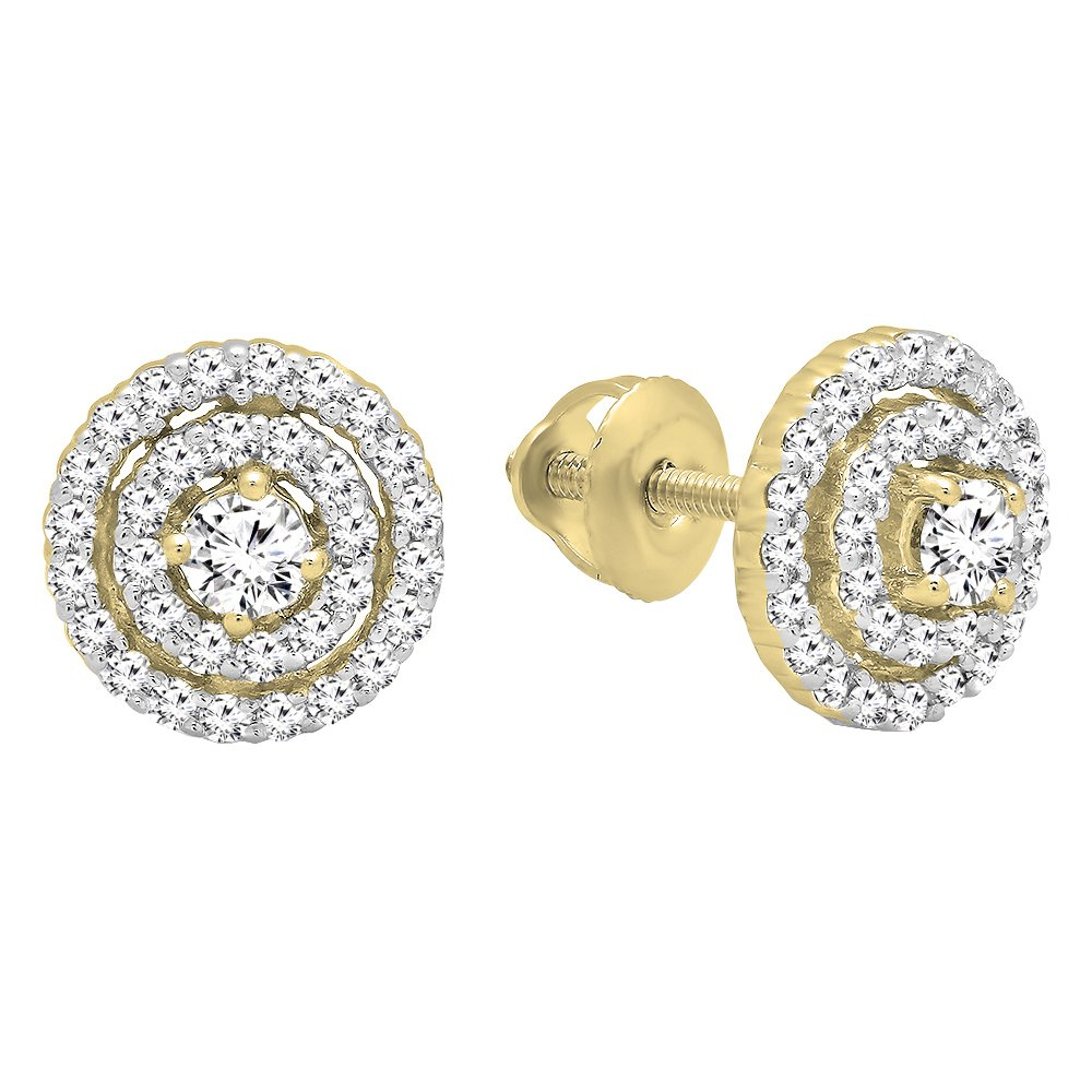0.41 Carat (ctw) 10K Yellow Gold Round Cut White Diamond Ladies Halo Style Stud Earrings