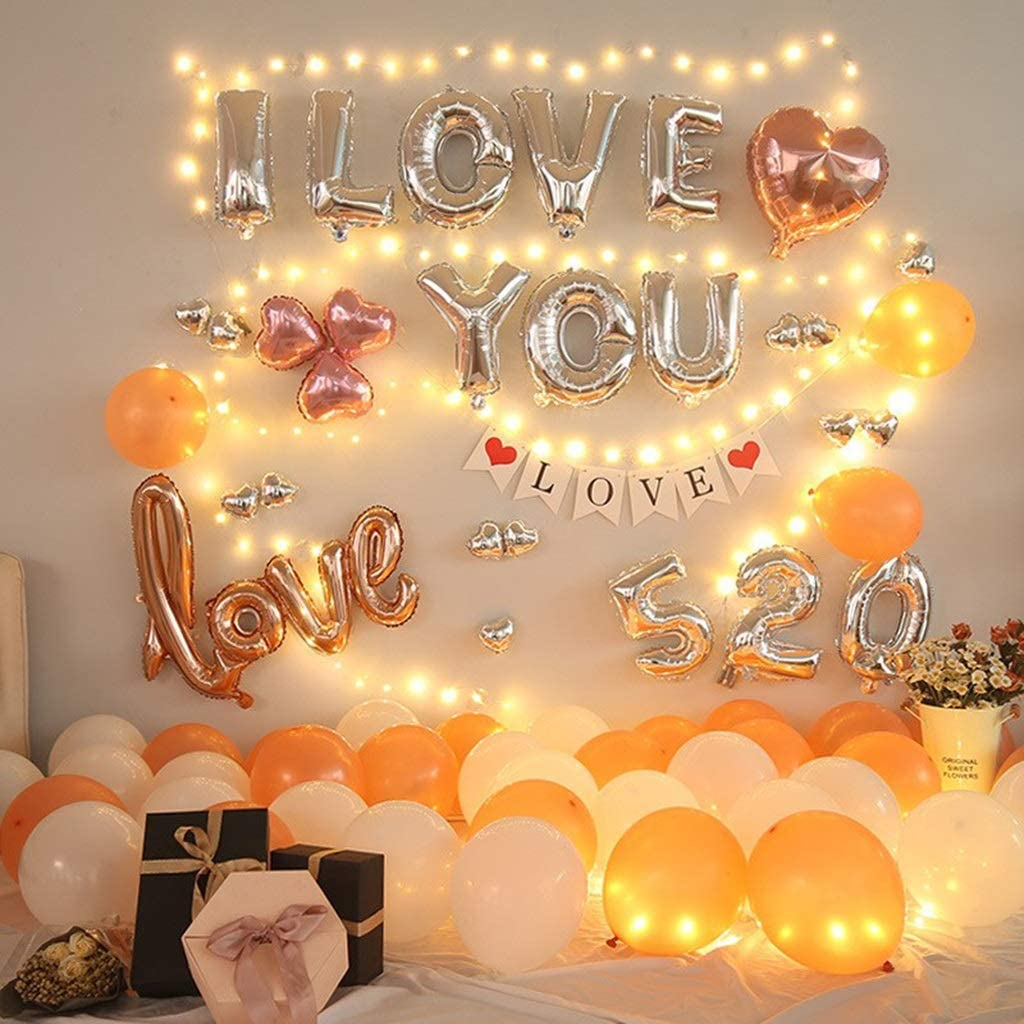 Wwwww Wedding Room Decoration Supplies Marriage Courtship Birthday Surprise Romantic Valentine S Day Background Wall Balloon Decoration Party Decoration Color C Amazon Co Uk Kitchen Home