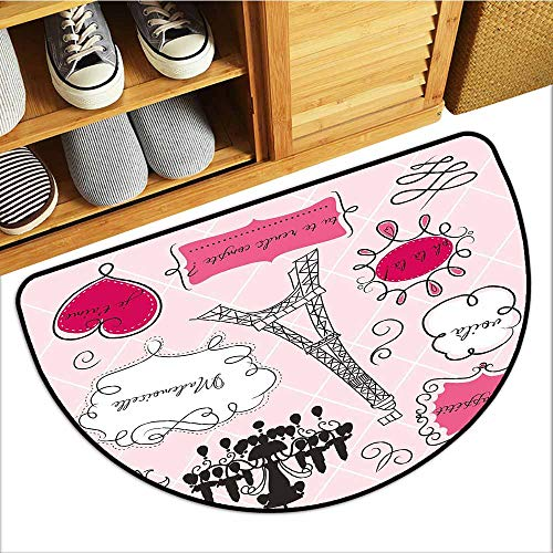 - Commercial Grade Entrance Mat, Teen Room Decor Custom Rugs for Kids Room, Doodle Frames French Style Rococo Baroque Lantern Mademoiselle Print (Hot Pink Black, H16 x D24 Semicircle)