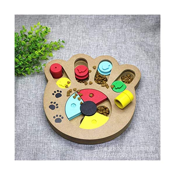 coldshine Dog Puzzle Toy Interactive Dog Toys Pet Dog Wooden Game IQ Training Toy Food Dispensing Puzzle Plate 5