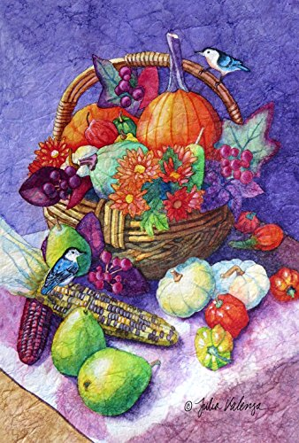 Toland Home Garden Bountiful Basket-Decorative Multicolor Harvest Pumpkin Pear Squash Garden Flag