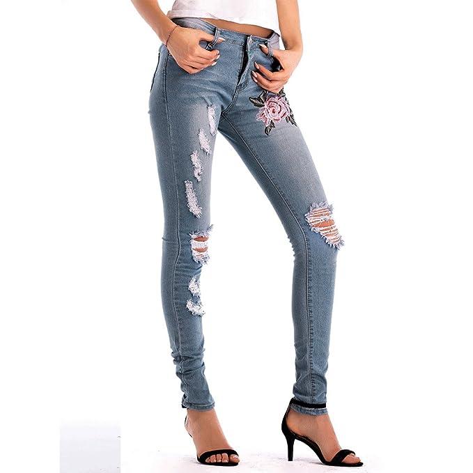 K-youth® Vaqueros Ceñidos de Tiro Alto Mujer Elástico Jeans ...
