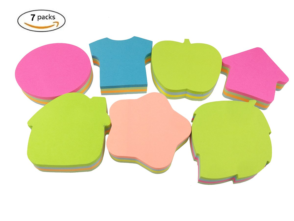 140 Sheets//Pad Apple Clothes Stars Cottage Leaves Shape Bright Colorful Sticky Notes,7 Pads//Pack