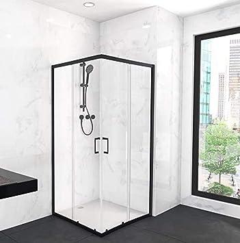 Marwell CITY - Ducha de cristal (90 x 90 x 200 cm), color negro mate: Amazon.es: Bricolaje y herramientas