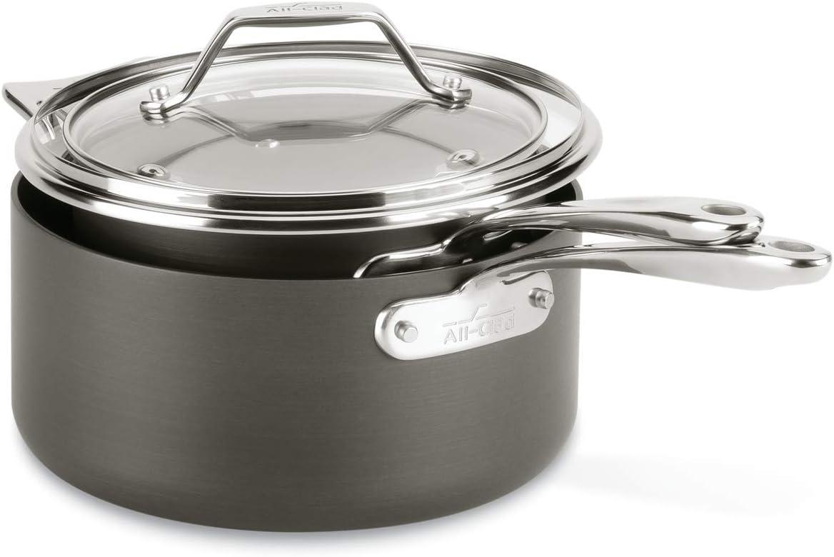 and 4.5 Qt Grey All-Clad H9114S64 Essentials Nonstick Saucepan set 2.5 Qt
