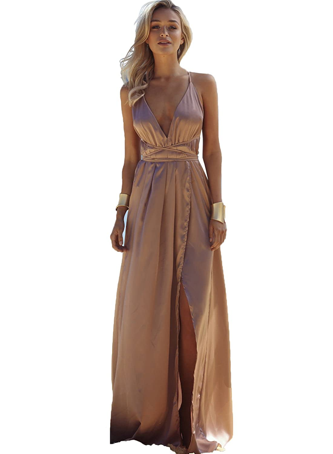 Yahmet Womens Pink Prom Dresses Long Cheap Maxi Dress Sexy Evening Gown Cheap 2017 at Amazon Womens Clothing store: