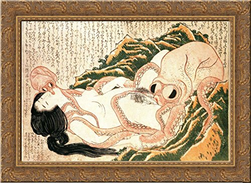 The Dream of the Fisherman's Wife painted by Hokusai