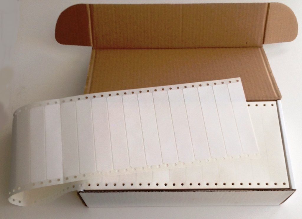 Linco White Pinfed Continuous, Pressure-Sensitive Labels, 5 x 15/16, Box of 5,000 by Linco