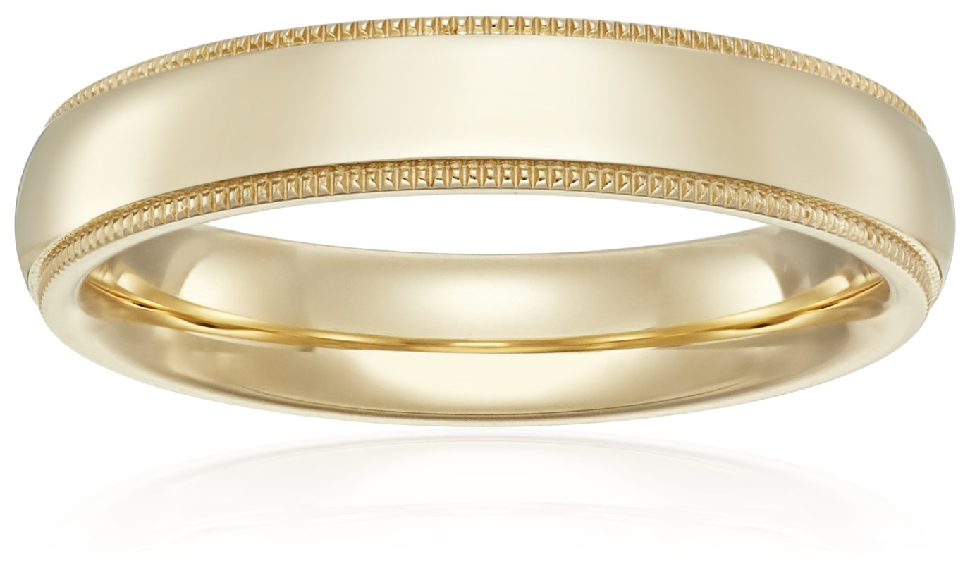 Standard Comfort-Fit 14K Yellow Gold Milgrain Band, 4mm, Size 6.5 by Amazon Collection (Image #1)