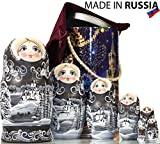 Russian Nesting Doll - ''Winter`s Tale'' - Hand Painted in Russia - MOSCOW KREMLIN GIFT BOX - Wooden Decoration Gift Doll - Traditional Matryoshka Babushka (8`` (7 dolls in 1), Silver Night)