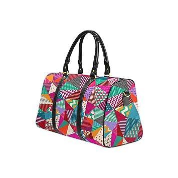 InterestPrint Large Duffel Bag Flight Bag Gym Bag Patch Work Pattern
