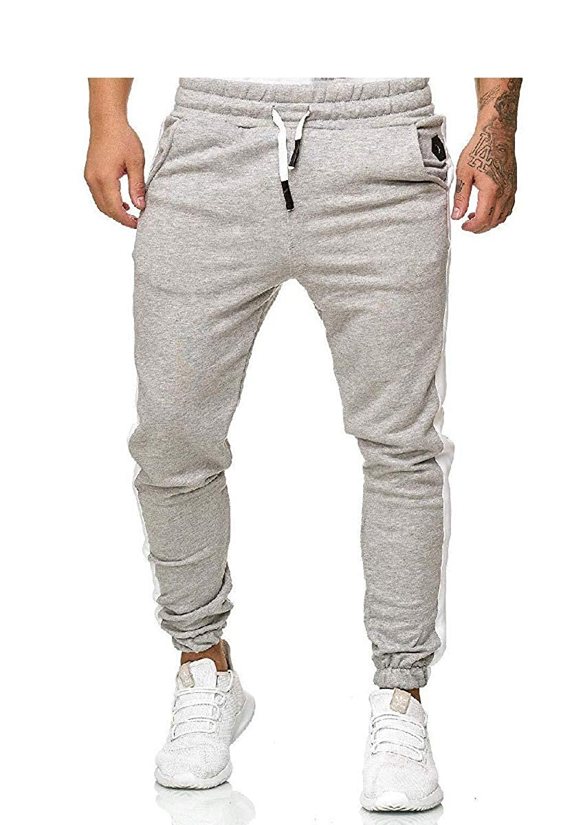 Abetteric Mens Elastic Waist Sport with Side Taping Trousers Casual Pants
