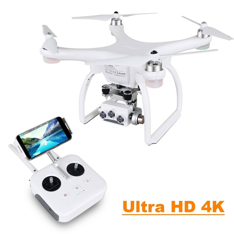 UPAIR Two dron cuadricóptero con cámara 3D 4K 2.4G Control Remoto FPV Transmisión en Vivo RC Quadcopter, Modo Sígueme, Modo sin Cabeza y waypoints