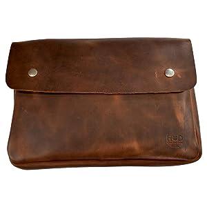 Hide & Drink, Vintage Leather Folder Document Holder, File Case, Document Portfolio & Binder Strapless Carry On Bag, Office & Work Essentials, Handmade Includes 101 Year Warranty :: Bourbon Brown