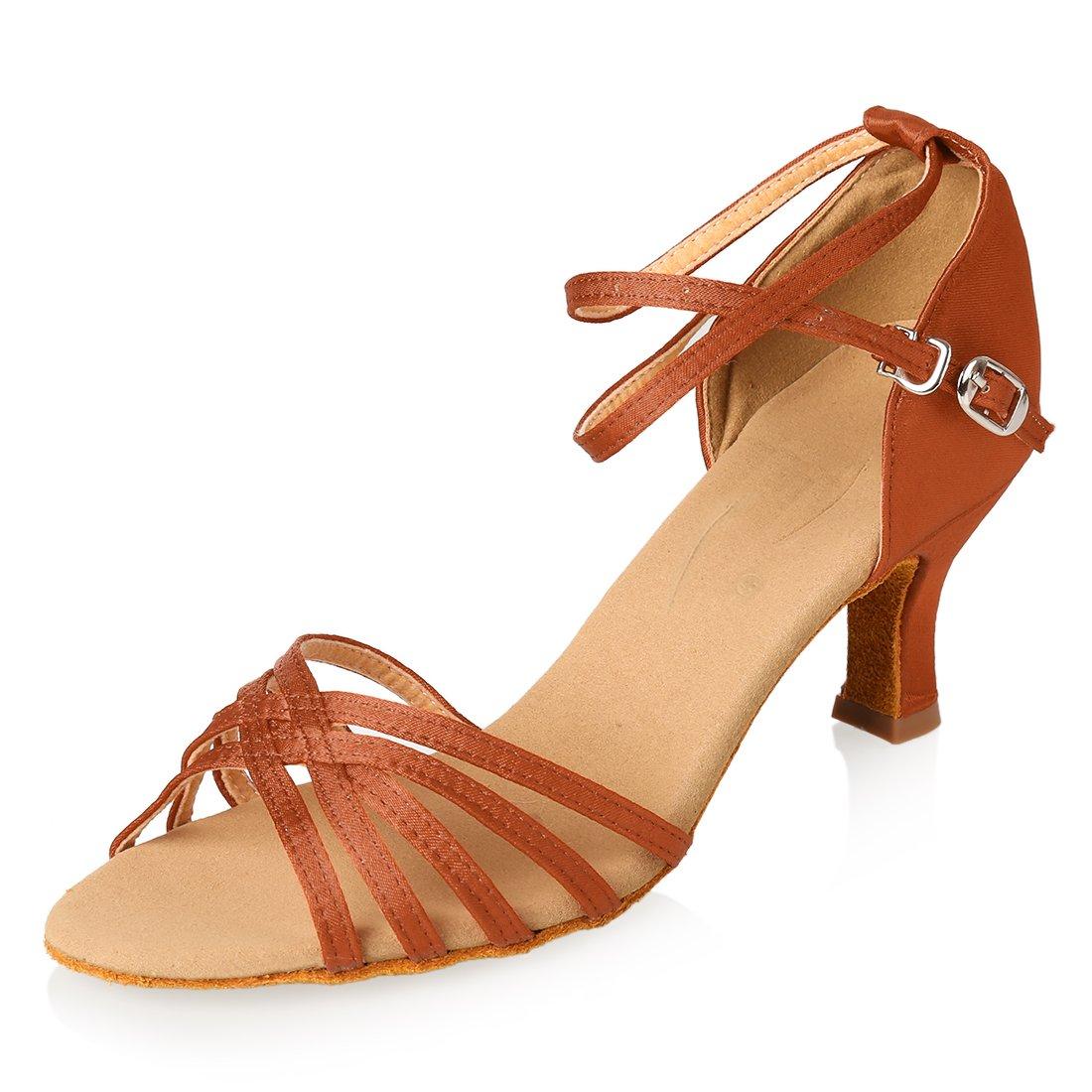 APTRO Damen Schuhe Tanzschuhe Ballsaal Latin Tanzen Silber Sandalen  38 EU|Braun