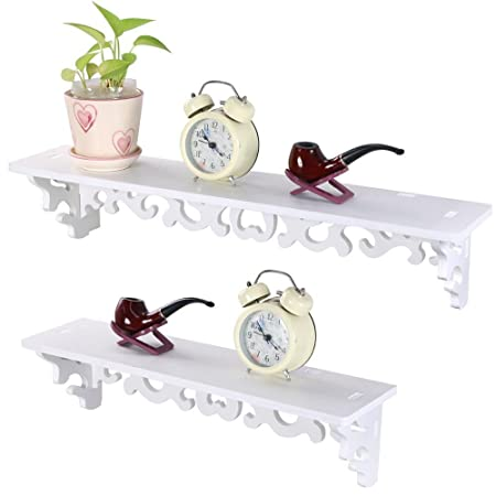 Popamazing Shabby Chic Style Floating Wall Shelves Bookshelf White Wall  Mounted Decorative Display Wall Shelf Storage