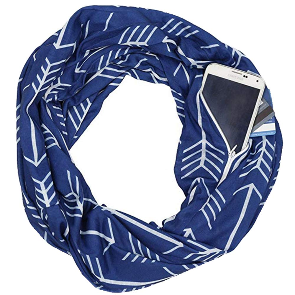 Unisex Infinity Loop Scarf Travel Scarf with Hidden Zipper Pocket
