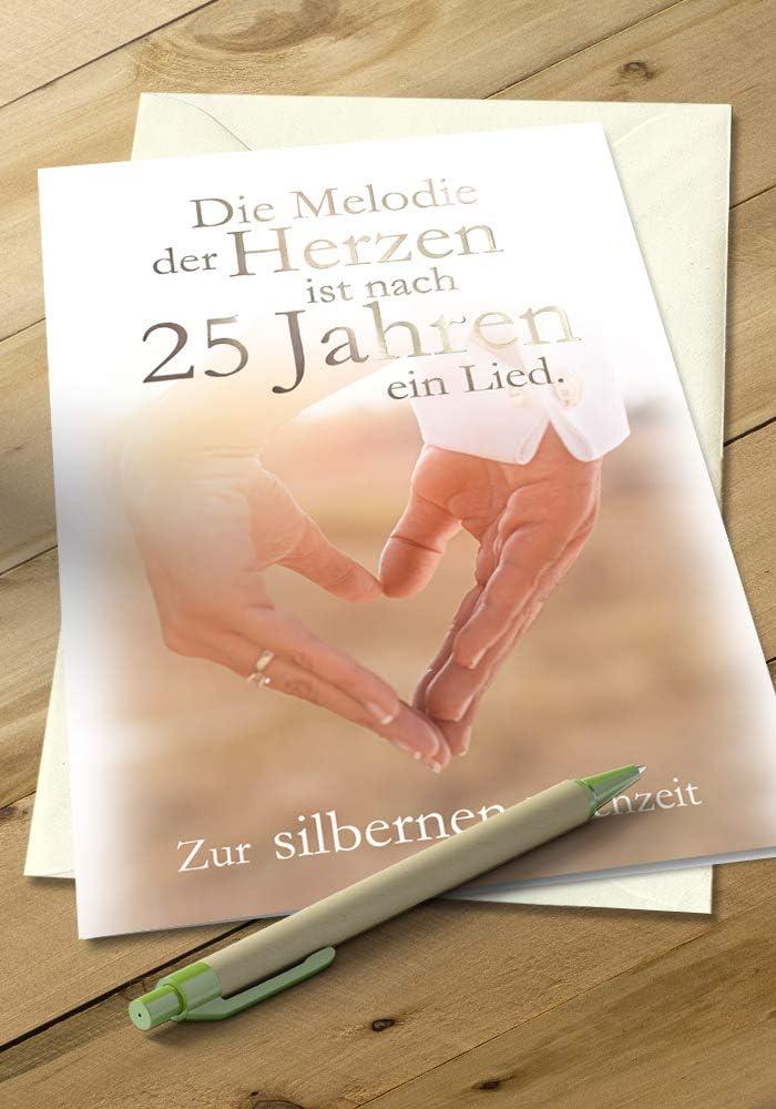 Folienpr/ägung Silberhochzeit Karte B6 Karte zur Silberhochzeit Motiv: Edel Karte mit Umschlag 25 Silberhochzeit