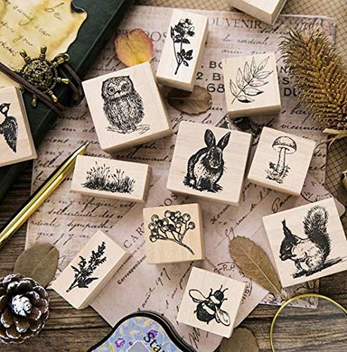 Holz Stempel F/üR Scrapbooking Briefpapier Craft Standardstempel Ruluti 2pc Weinlese-Nette Tier Pflanzen Decoration-Stempel