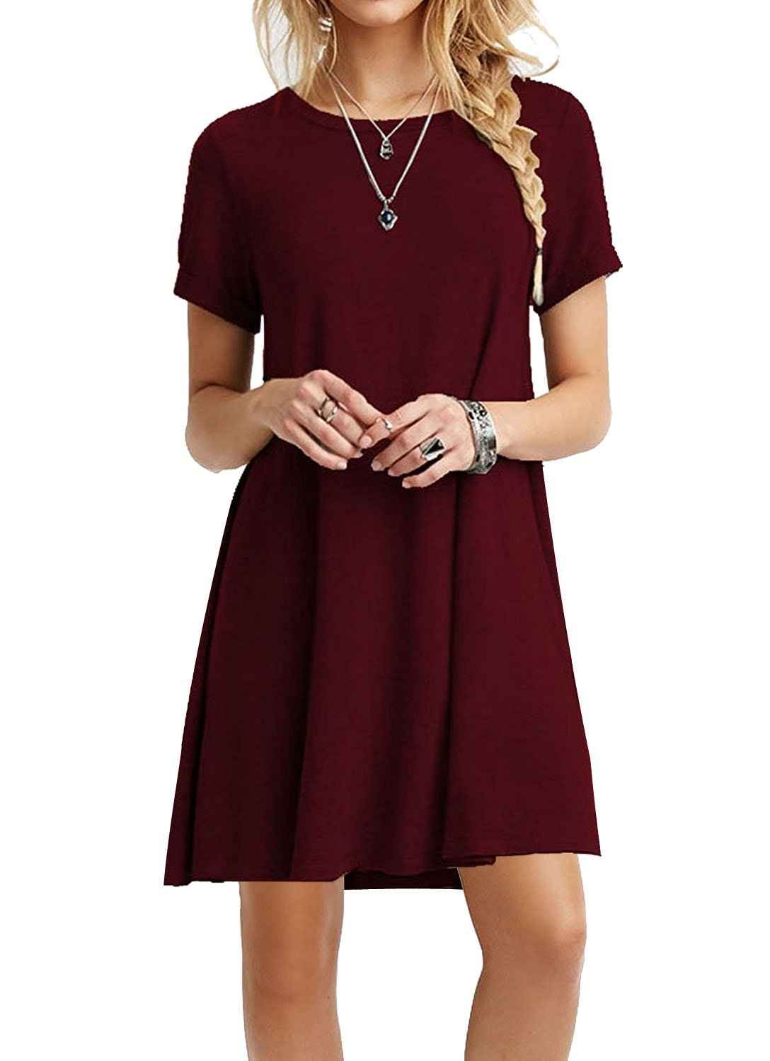 TINYHI Women's Swing Loose Short Sleeve Tshirt Fit Comfy Casual Flowy Tunic Cotton Dress Wine Red,Large