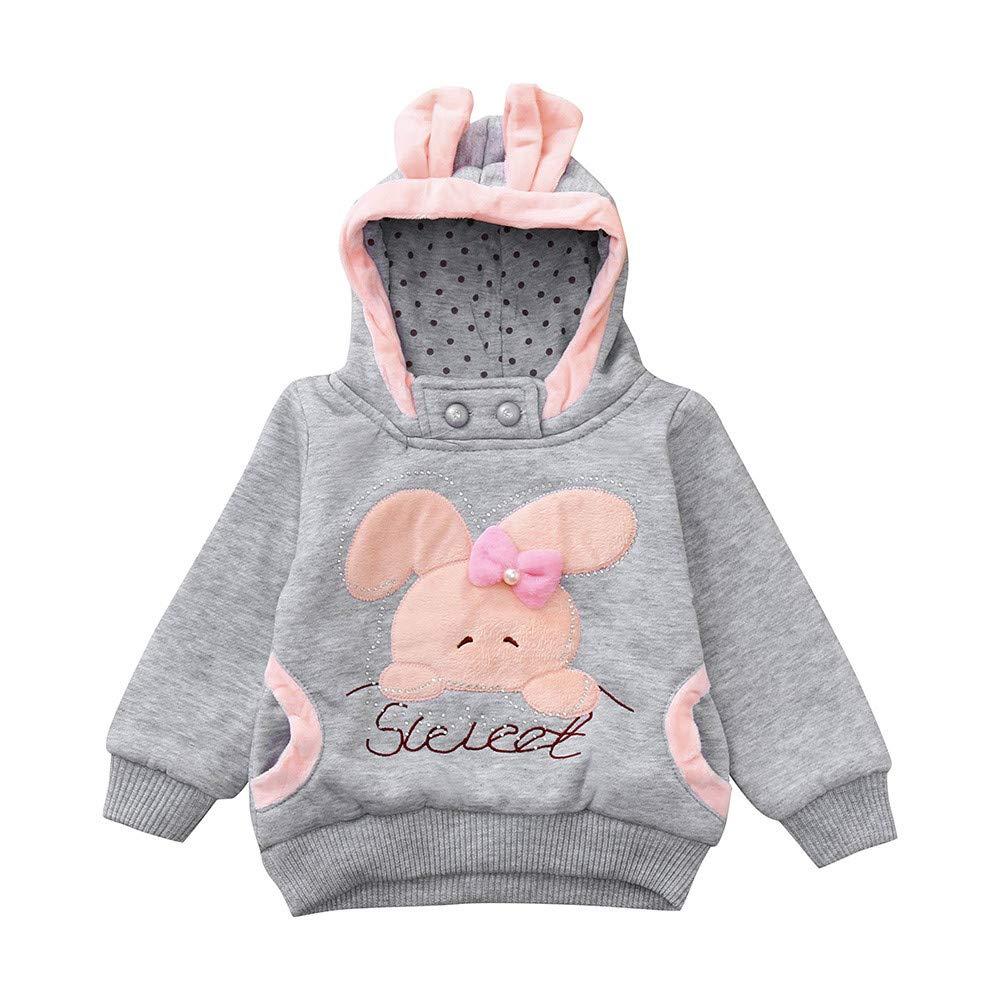 JERFER Cartoon Bunny Hooded Sweatshirt Toddler Kids Girls Boys Long Sleeve Tops