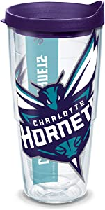 Tervis NBA Charlotte Hornets Colossal Tumbler with Wrap and Royal Purple Lid 24oz, Clear
